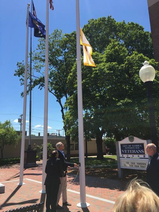Mayor Donchess and Lion Kamal raising the Lion Flag