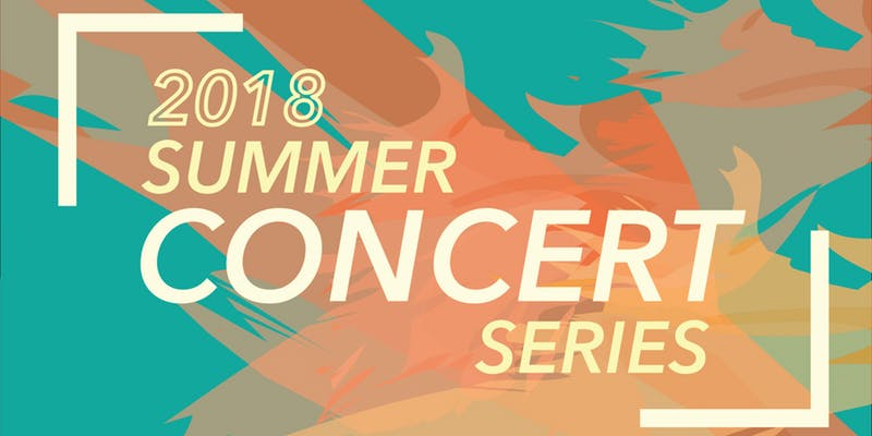 Teal background with layered splashes of orange, with 2018 Summer Concert Series written in light ye