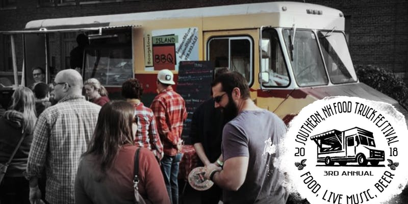 Photo of participants waiting at a food truck, with a small white logo featuring the event name and