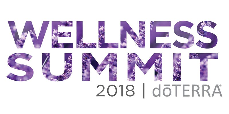 White background with Wellness Summit written with purple lavender flowers within the text