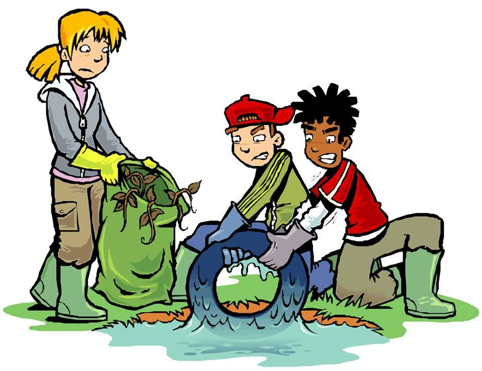 Drawing of children cleaning a yard, holding bags of leaves and pulling a tire out of water