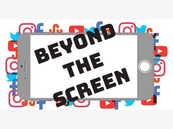 "Image of a smart phone with ""Beyond the Screen"" in black, and the background is filled with Fa"