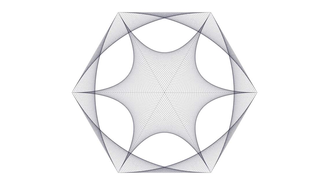 Coding image of a grey and white layered polygon