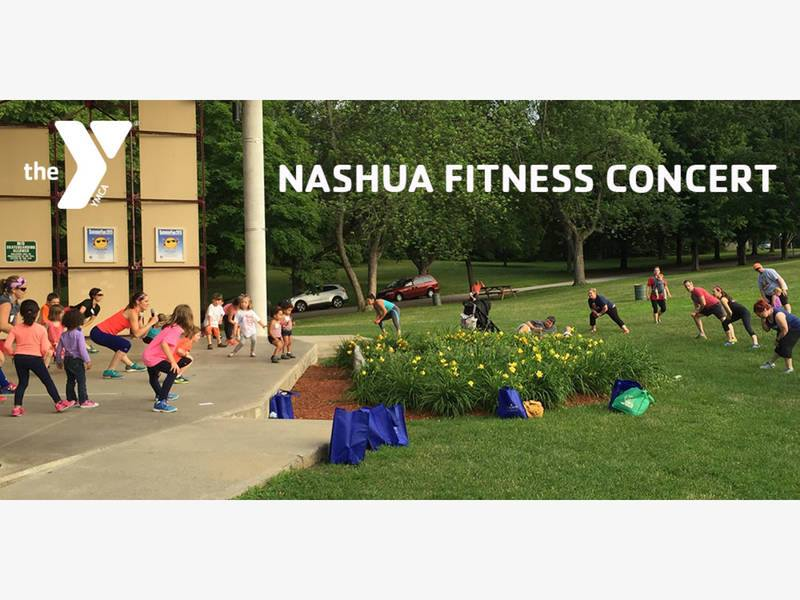 "Photo of outdoor workout class with the YMCA logo and ""Nashua Fitness Concert"" in white text"