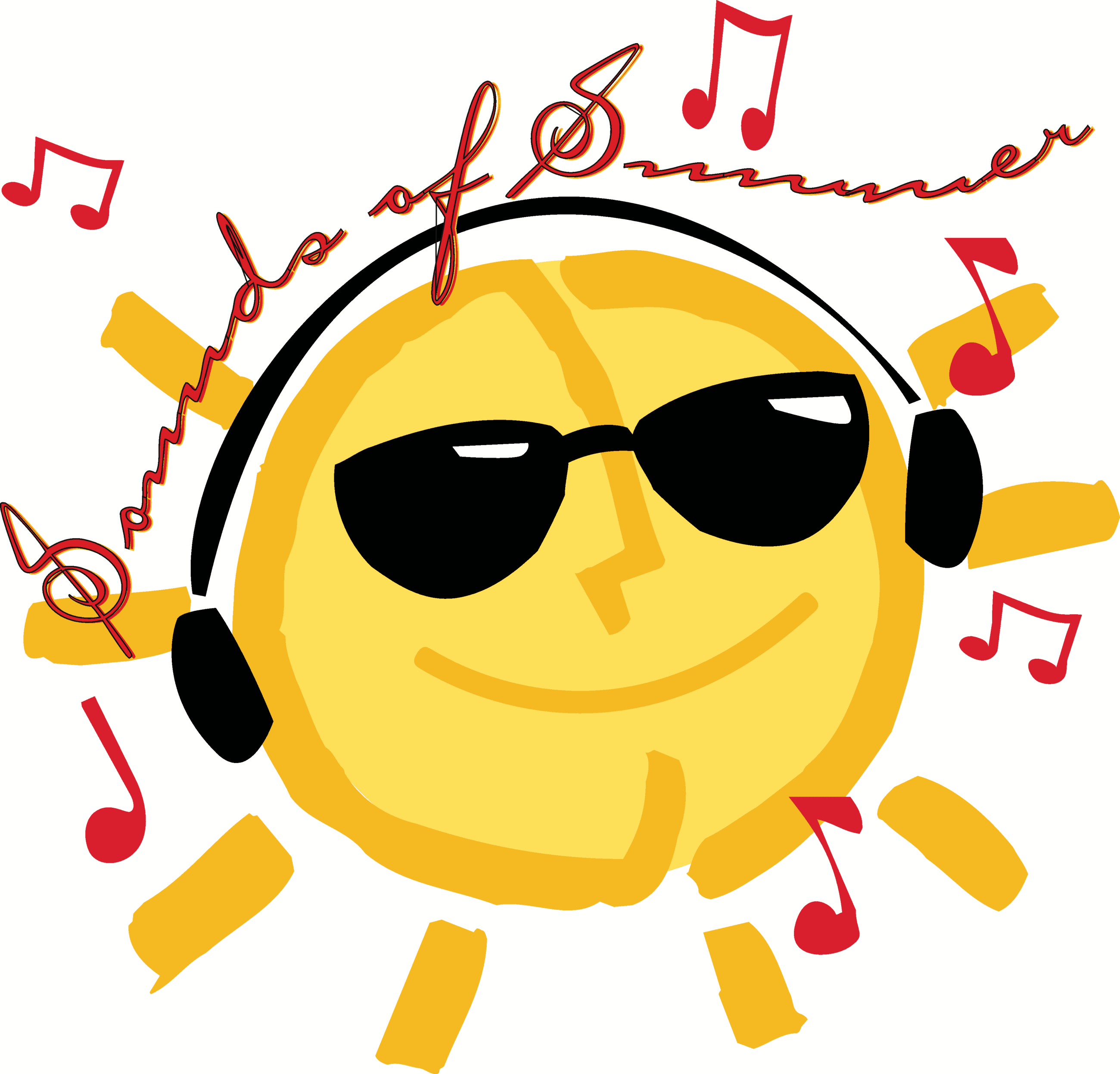 summerfun logo - smiling sun with sunglasses and headphones