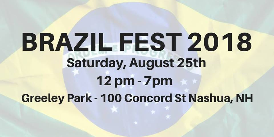 White-washed Brazilian flag background with event name and info in black text