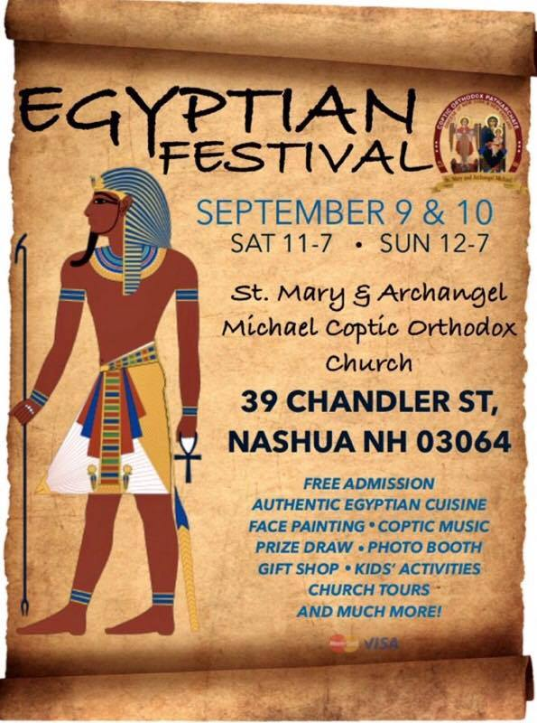 Flyer with event name and information with an aged papyrus background and ancient Egyptian figure