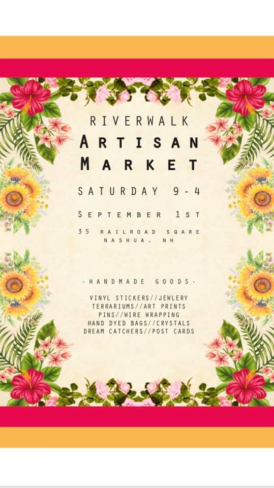 Flyer with pink and orange borders around a floral background. Contains event details in black font