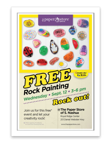 Flyer with many creative rocks, event name and details with Paper Store logo