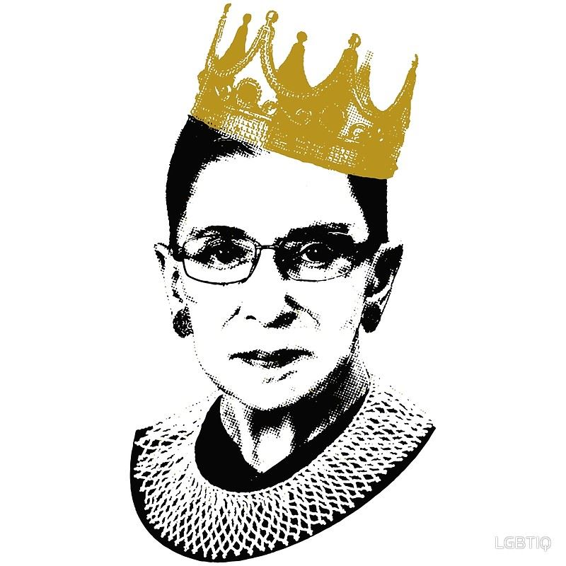 Image of Ruth Bader Ginsburg with gold crown