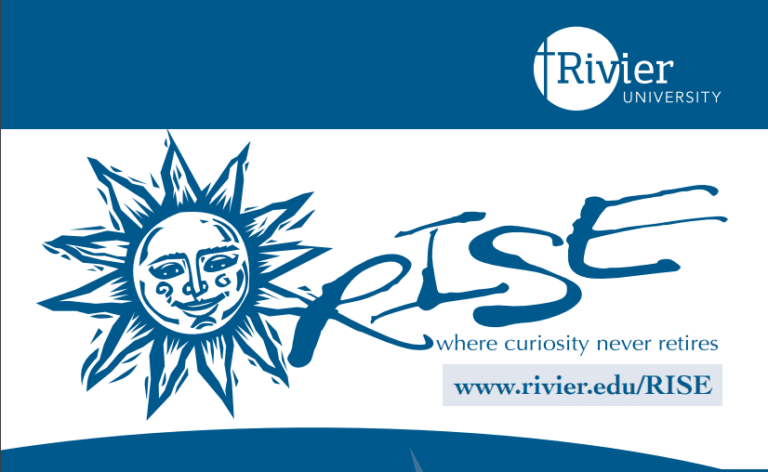 Program logo in blue font with a blue smiling sun, white background and Rivier University logo
