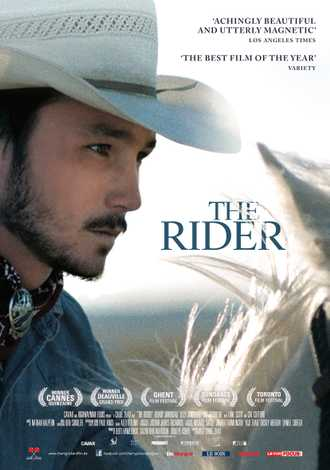 Movie poster featuring a close up image of a cowboy riding a white horse
