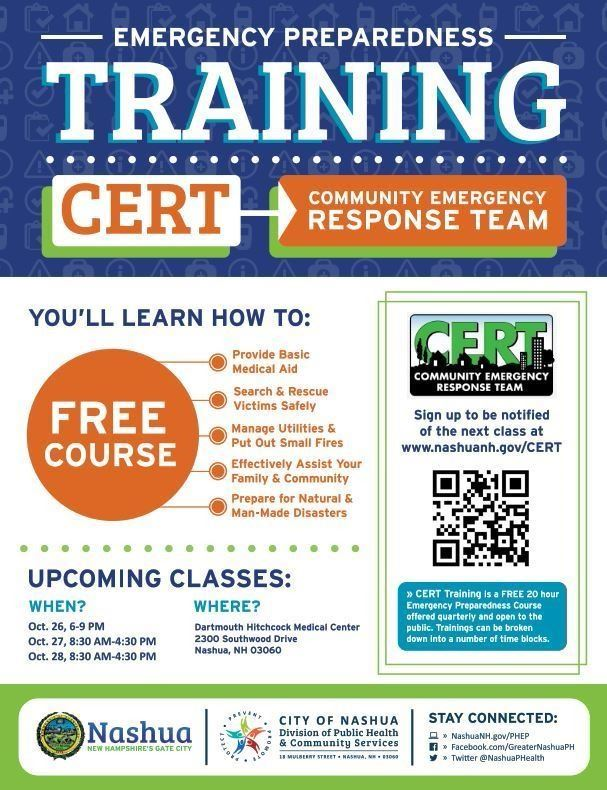 CERT Flyer featuring event name, class dates, location and brief description of program