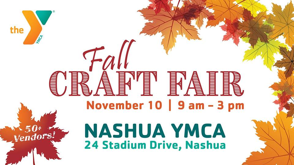 Flyer with event name and details, featuring colorful fall leaves around the border
