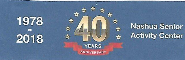 Navy blue banner with 40 year anniversary in gold with gold stars and date of the center's openin