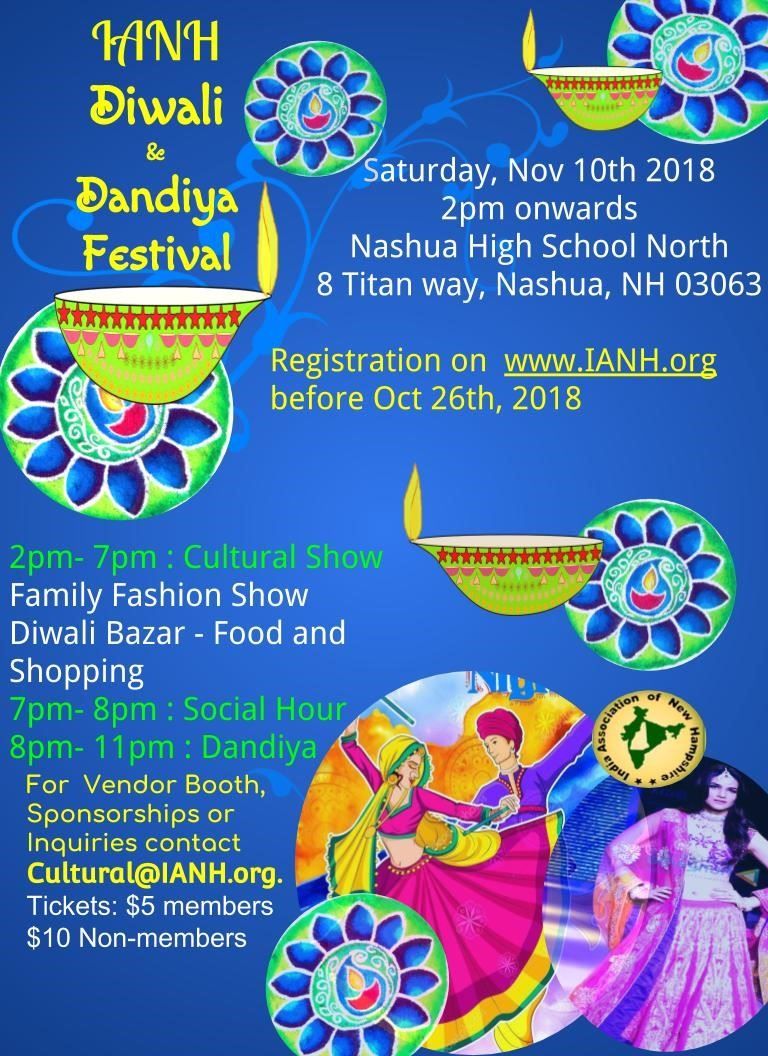 Event flyer with blue background, cultural photos and event information