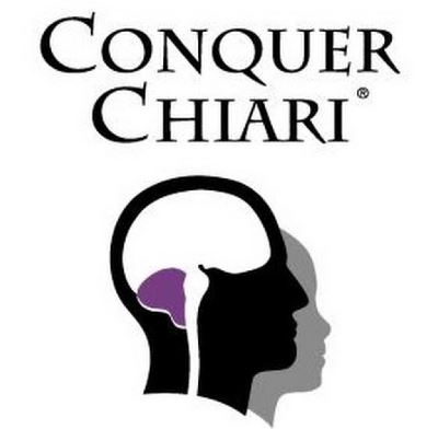 Conquer Chiari logo featuring black head with white brain and purple section below