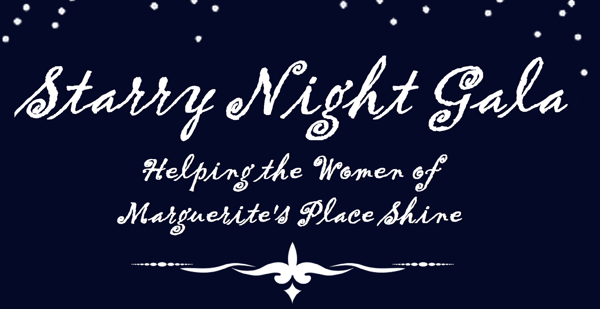 Dark blue background with white stars and font with event name and brief description of host Marguer