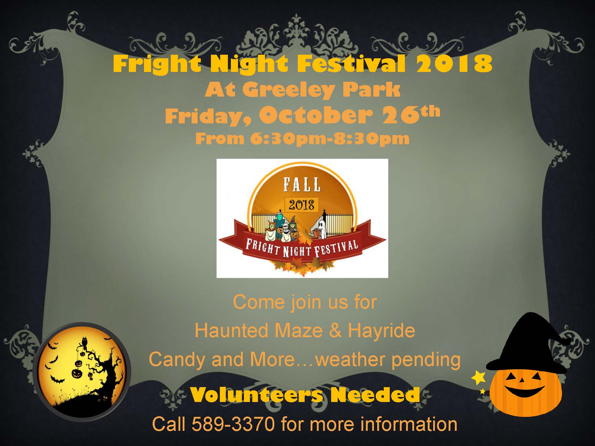 Flyer with grey and black backgrounds, pumpkins and event information in orange font