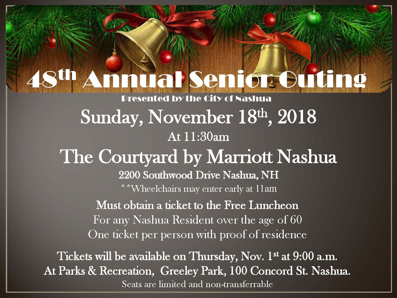Flyer with brown background and bells/tinsel above, event details in white font