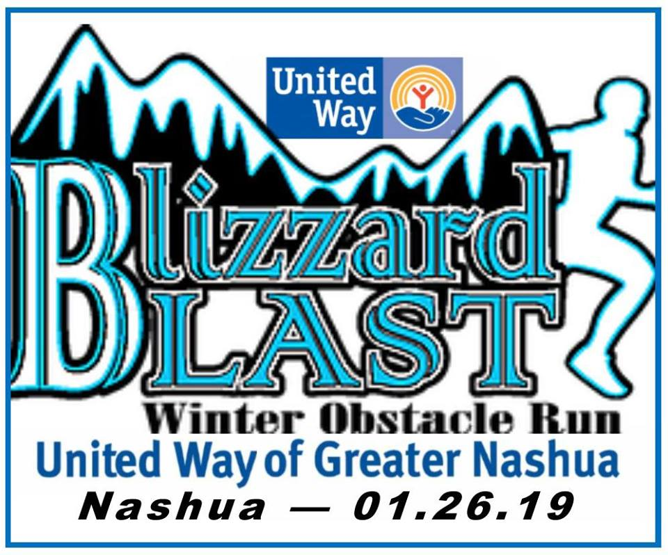 Flyer with white background, black/blue mountains and outline of runner. Event name and information
