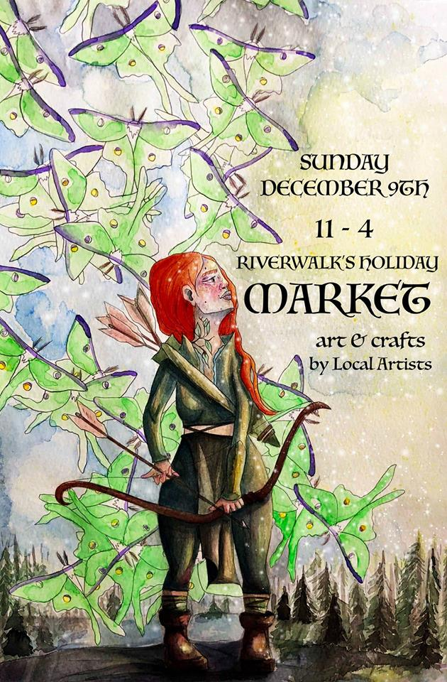 Flyer with event information over a painted winter background with a red haired woman holding a bow