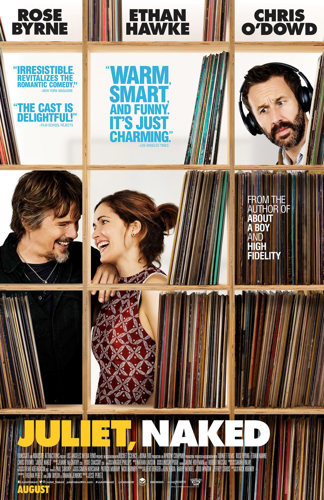 Movie poster of couple behind bookshelf with man wearing headphones looking from right corner
