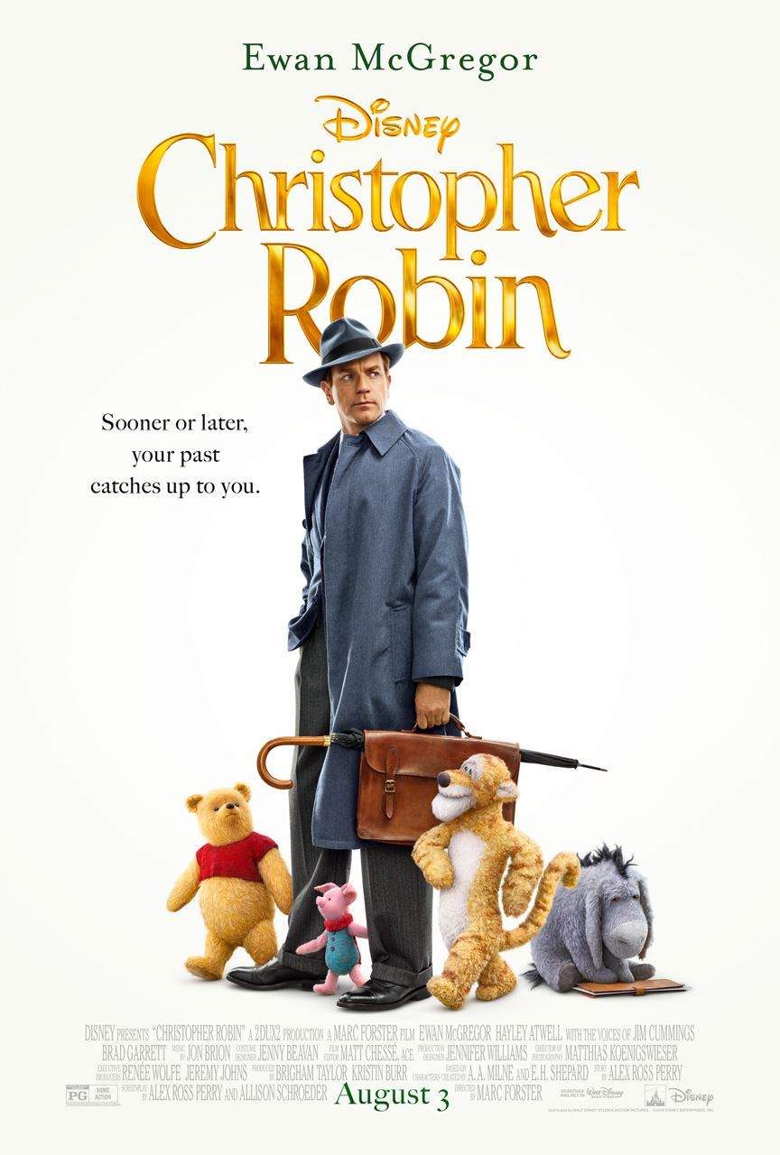 Movie poster featuring adult Christopher Robin walking with Winnie the Pooh characters