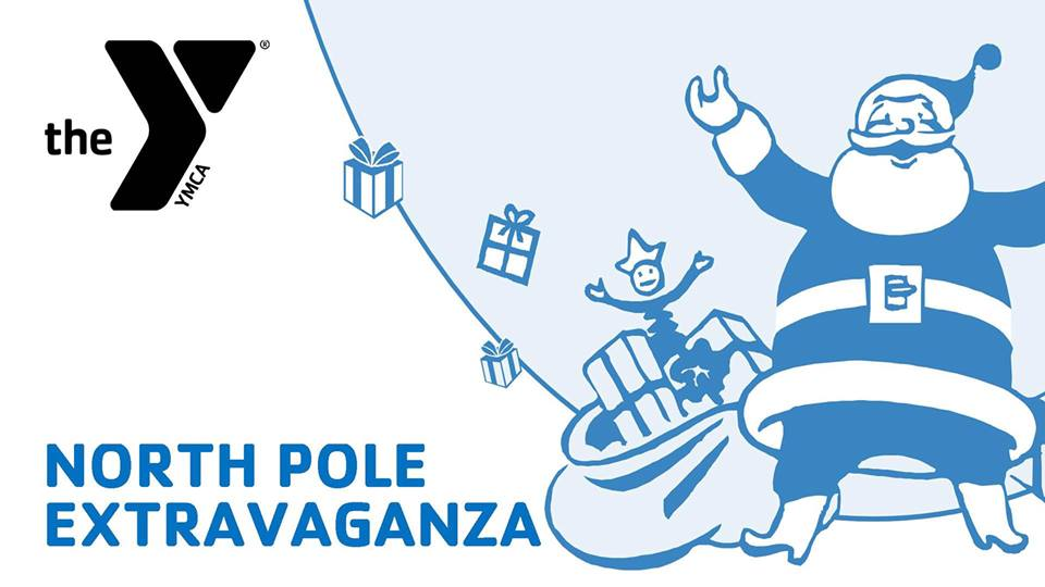 White background with blue image of Santa with bag of toys, event name in blue