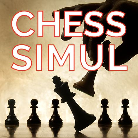 "Image of chess board with ""Chess Simul"" in white font outlined in red"