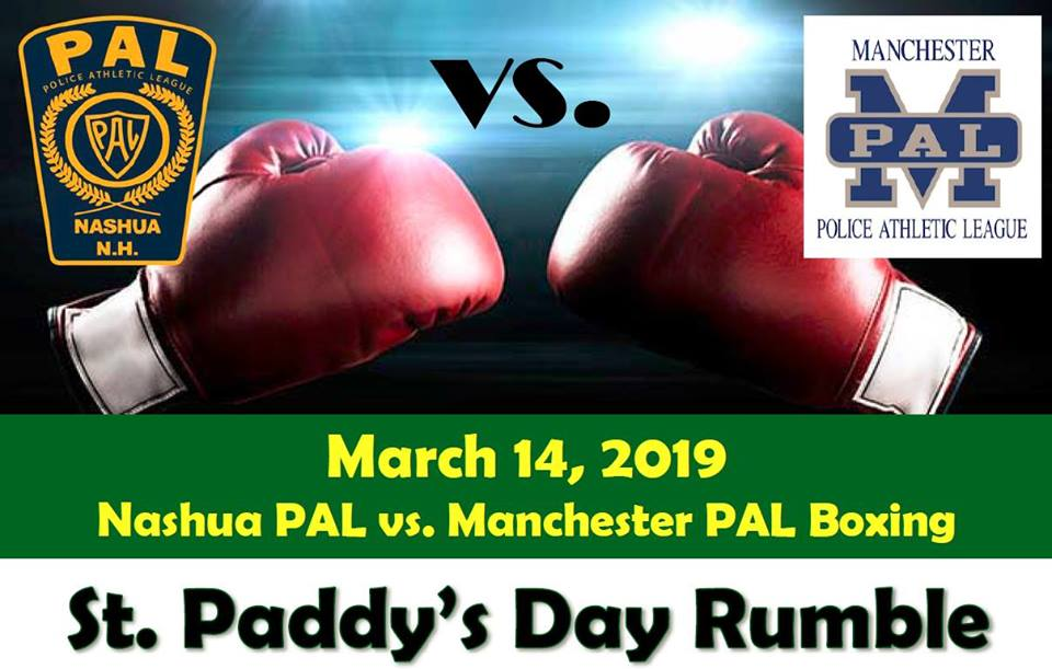 Image of red boxing gloves, Nashua and Manchester PAL logos, and event name and details at bottom of