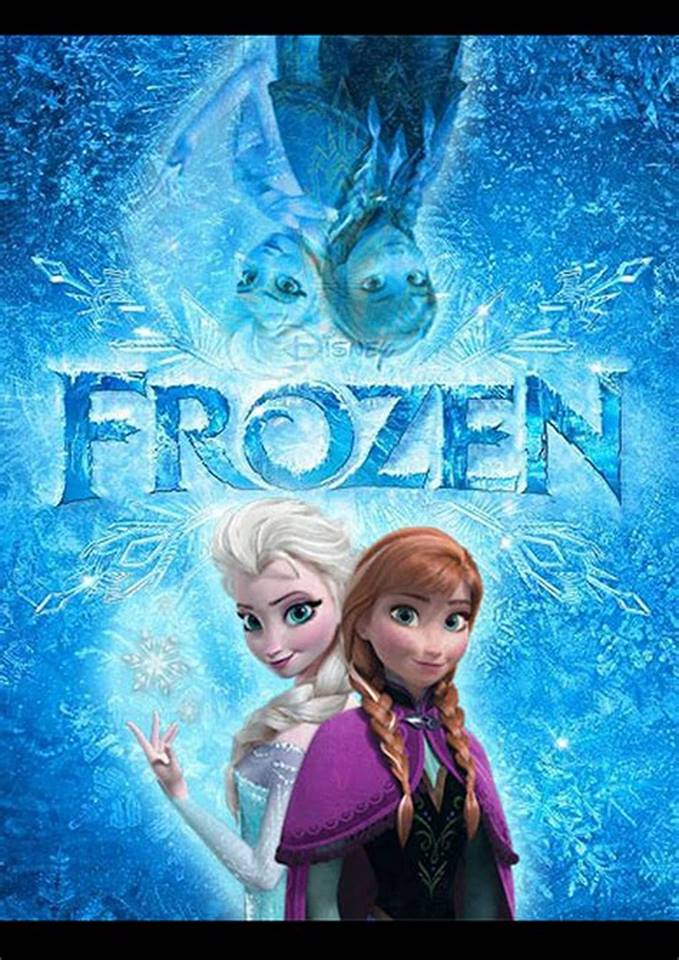 Image of Frozen movie cover with blue ice background and two female characters
