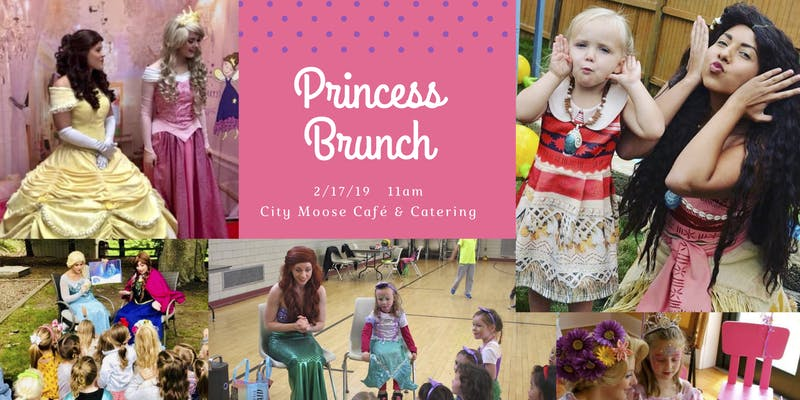 Images of children with princesses, event name and details in white over pink background
