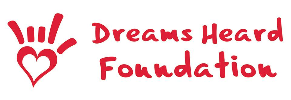 "White background with ""Dreams Heard Foundation"" in red font"