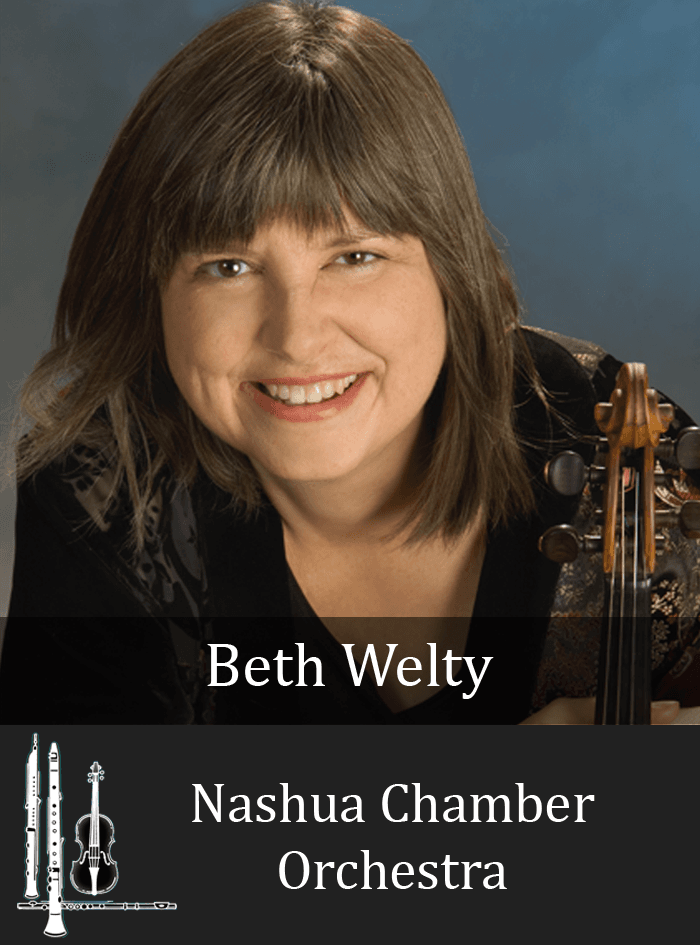 Portrait of featured musician Beth Welty with violin and blue background