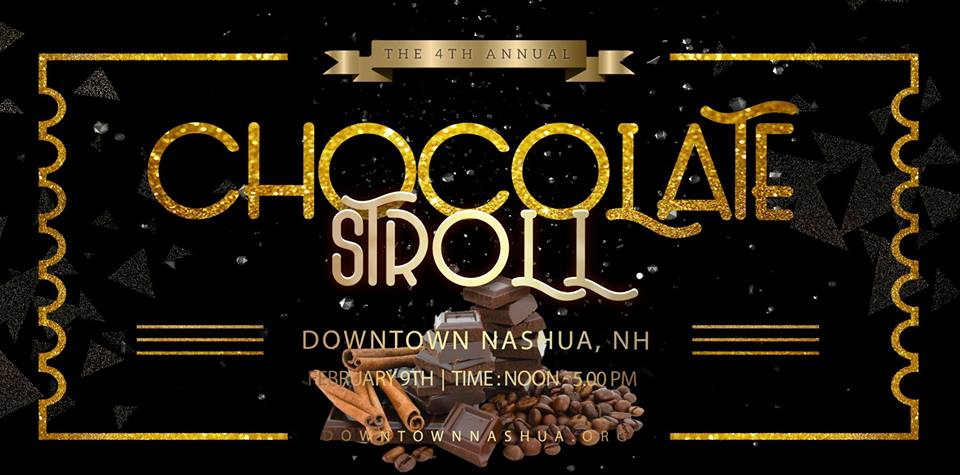 Black background with gold trim, event name and location in gold, image of chocolate in center
