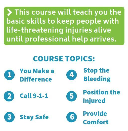 Course topics include how to call 911, stay safe, provide emotional support, stop life threatening b
