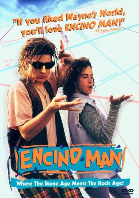 Movie poster with a man and a kid in front of a blue geometric background