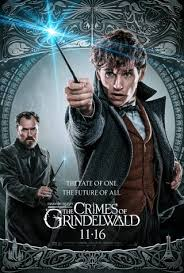 Movie poster with steel and grey background, wizard in the front with blue light wand, other man in