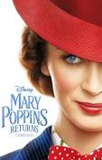 Movie poster with Mary Poppins to the right and text in blue to the left