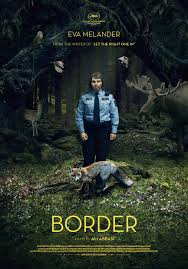 Movie Poster with police officer standing in the middle of the woods with animals