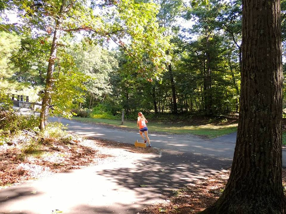 Image of woman running in wooded area