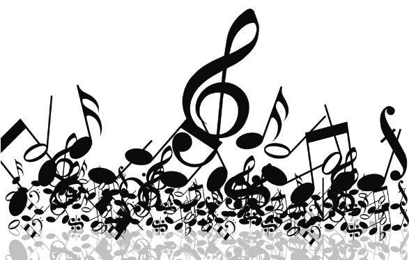 White background with black music notes and clefs