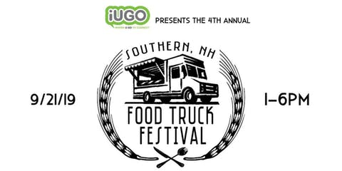 White background with black logo, food truck surrounded by wheat and utensils