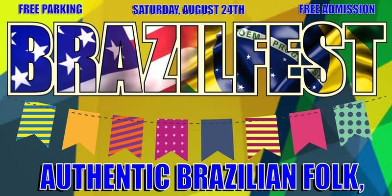 Event name and background made of Brazilian and American flags