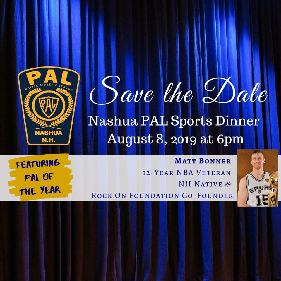 Blue curtain for background with event name, details, PAL logo and image of Matt Bonner