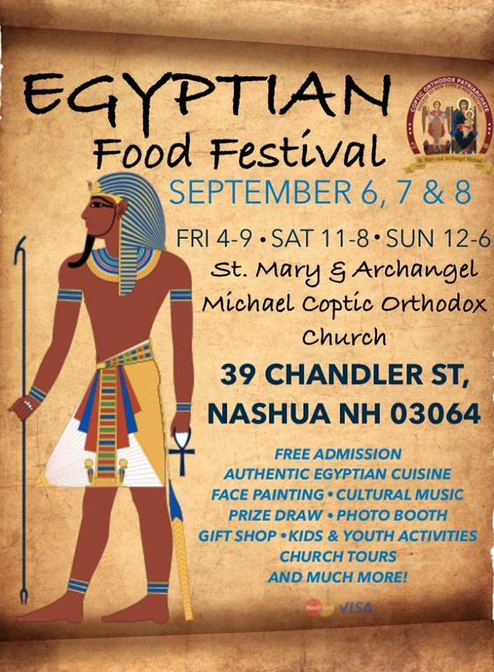 Parchment background with event details in black font and Egyptian imagery