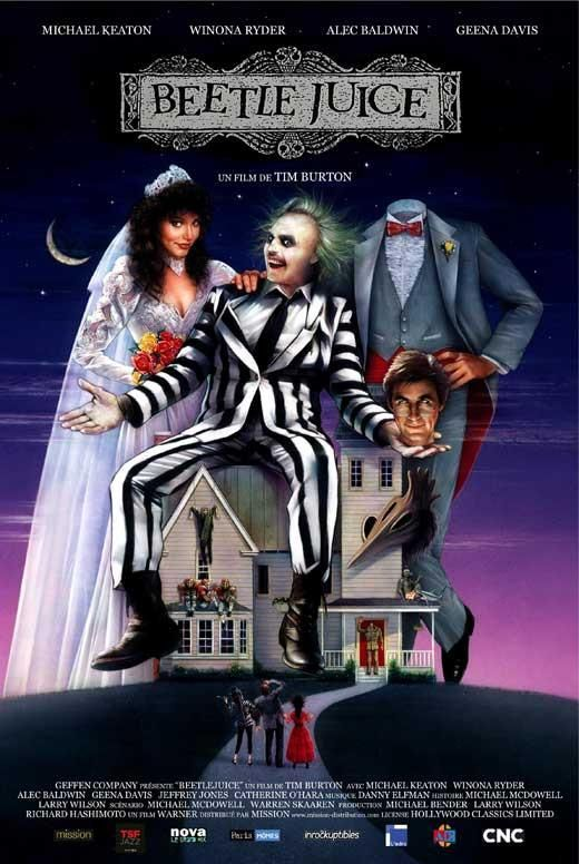 Movie poster featuring spooky characters sitting on a house on a hill