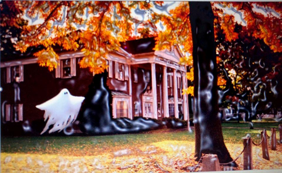 Image of old house with fall leaves and ghost image