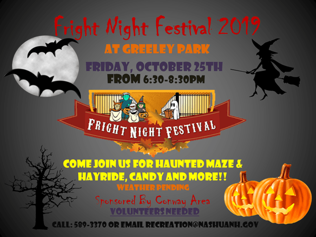 Flyer with grey background and Halloween imagery, event name and details in fall colors